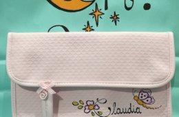 Portadocumentos de bebé rosa personalizado.