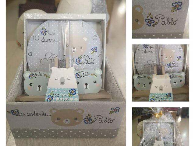 Canastilla niño personalizada (reloj de pared, hucha, sujetalibros y caja).