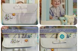 Canastilla de bebé (marco, neceser y portadocumentos) personalizado.