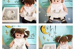 Muñecas comunión o bautizo de trapo personalizadas con nombre.