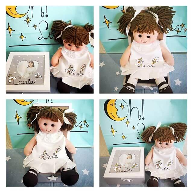Muñeca de trapo para bautizo o comunión con el nombre de la niña.