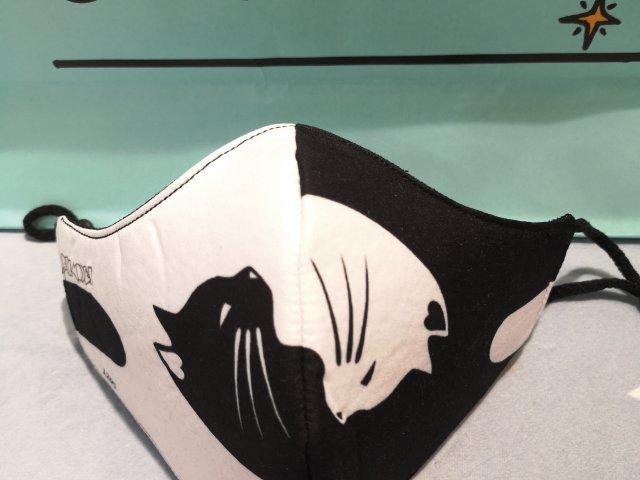 Mascarilla  de adulto gatos yin yang